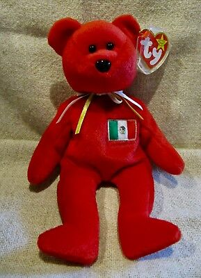 Osito Mexican Red Bear Ty Beanie Baby With Tag - Retired -1999 - Brand New Mwmt