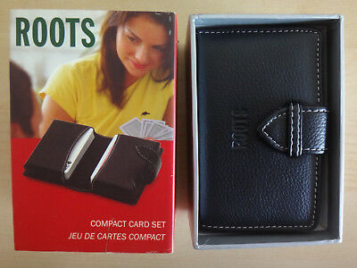 Roots Canada #RB411 Compact 2 Card Decks Set with Black Leatherette Case in Box