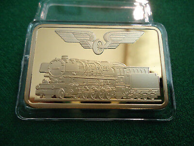 "Goldbarren Medaille ""Deutsche Eisenbahn, Lokomotive 1926"" 1 oz plated"
