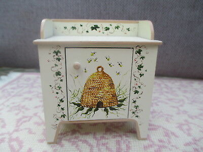 Dollhouse Miniatures ~ Karen Markland Low Cabinet Painted w/ Bee Hive & Bees '97
