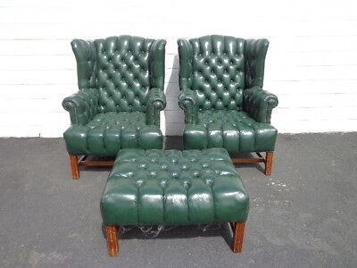 3pc Handsome Deep Tufted Leather Wingback Armchairs Chair Seating Chesterfield