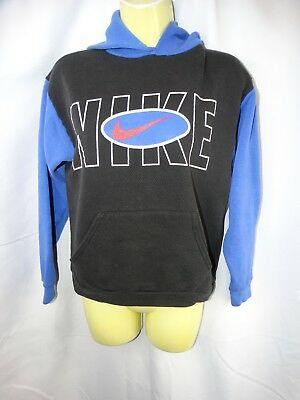 Nike Sweater Large Boy's Vintage Hooded Blue Black Cotton Polyester Collectible
