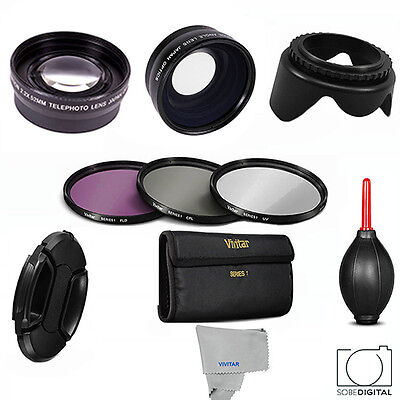 62Mm Hd Wide Angle Macro Lens + Telephoto Zoom Lens + Filter Kit For Lumix Dc-G9