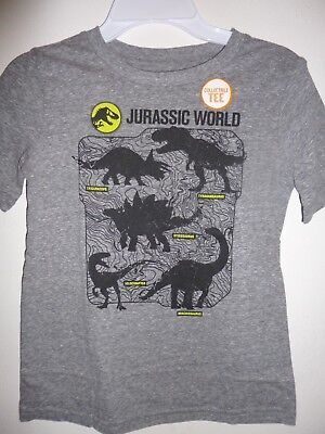 Little Boys Kids Jurassic World S/S Tee Top T-Shirt Gray Size 5 6 7 8 NWT