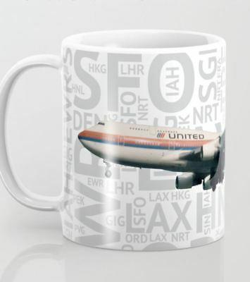 United Airlines Boeing 747 (Tulip) with Airport Codes - Coffee Mug (11oz)
