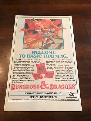 1987 VINTAGE 6.5x10 PRINT AD D&D WELCOME TO BASIC TRAINING TSR DUNGEONS DRAGONS