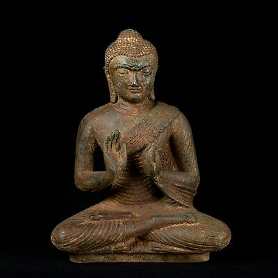 19th Century Antique Sri Lanka Protection & Teaching Buddha Statue 25cm/10""