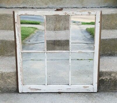 Vintage Antique Window Pane Frame Wood Rustic Mirror Farmhouse Reclaimed Decor