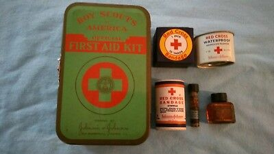 VINTAGE Boy Scouts 1950s Johnson Johnson First Aid Kit w/Contents FANTASTIC Cond
