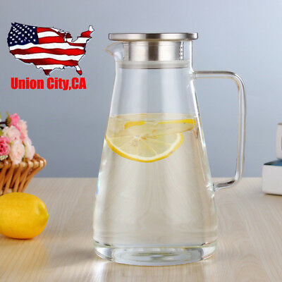 Stunning Clear Glass Pitcher Stainless Steel Lid Ergonomics Water Ice Tea Carafe