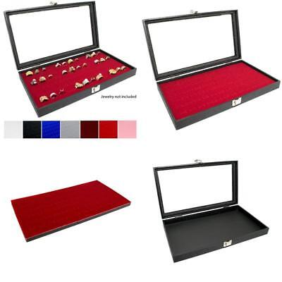 Novel Box Glass Top Black Jewelry Display Case + Red 72 Slot Ring Display Insert