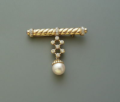 14K Yellow Gold Pearl/ Diamond And Ruby Pin/brooch