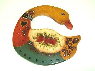 Vintage Handmade Painted Wood Wall Hanging Duck Folk Art Country Primitive decor