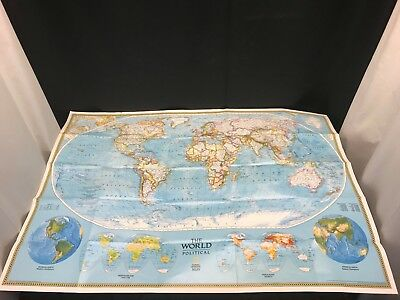 Vintage 1975 national geographic map the political and physical the world political map national geographic 42 gumiabroncs Choice Image