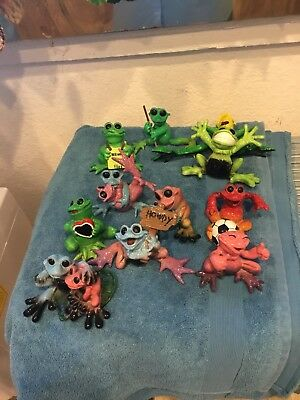 Lot Of 11 Kitty's Critter Frog Collectibles Figurine Sports Howdy Lights