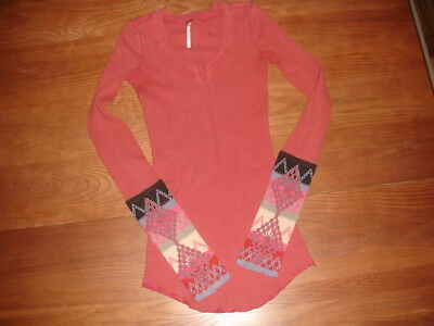 Free People Brick Red Pink Kombucha Embroidered Crochet Sleeve Waffle Thermal Xs