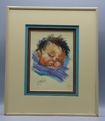 "Carol Theroux ""Sleeping Indian Baby"" Watercolor Listed Native American Artist"