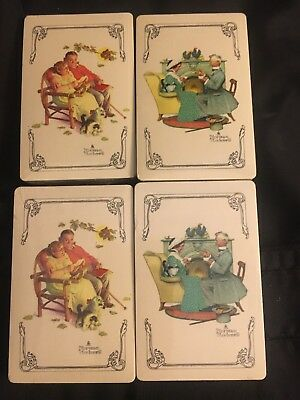 New Sealed Norman Rockwell Playing Cards 4 decks Vintage Couples Victorian