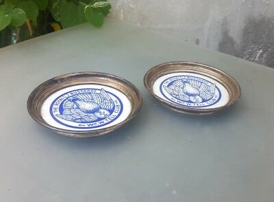 """Rare William W. Tell Club The Royal Bustards Coasters Sterling Milk Glass 4.5"""""""