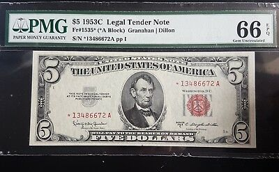RARE Red Seal Low Mintage Star Replacement $5 1953C PMG 66 GUNC 1535* CV=700