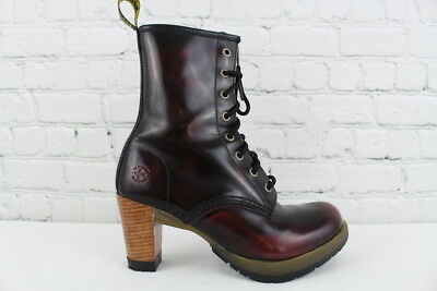 DR MARTENS DARCIE Women s Cherry Red Rub Off Leather Boots Size 8 ... 7353e01734