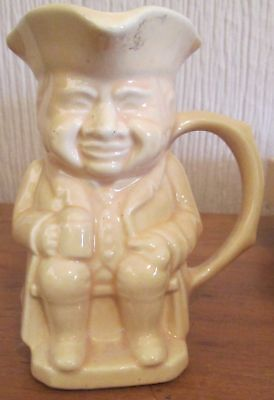 Vintage USA Yellow Ceramic Toby Mug Stein