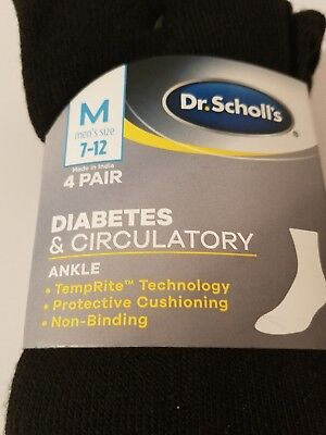 Dr. Scholls Mens Diabetes Circulatory 4 pair  black ankle Socks size 7 12 New