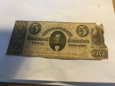 1861    $5   Confederate   Currency T34