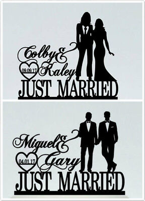 Personalised Just Married Gay Lesbian Same Sex Wedding Cake Topper With Names
