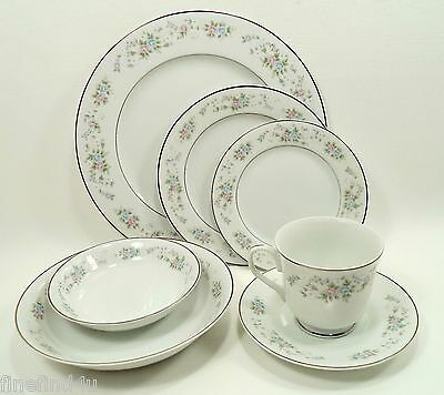 Carlton CORSAGE China 481 Japan 7 Pc Place Setting(s) Plates Bowls Cup Saucer