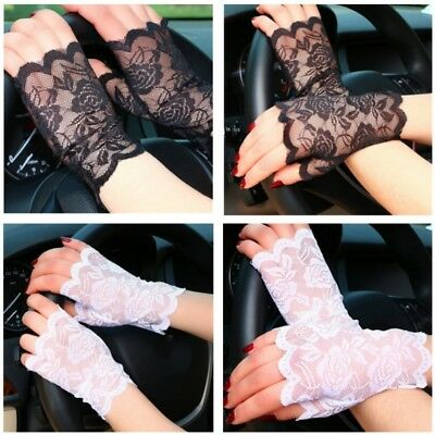 US Women Wrist Lace Gloves UV-proof Driving Gloves Wedding Bridal Elbow Gloves