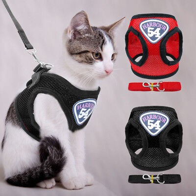 Soft Mesh Escape Proof Cat Walking Harness & Leash Puppy Kitten Harnesses Vest