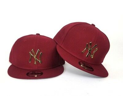 Burgundy New Era New York Yankees Gold Metal Badge Logo 9Fifty Snapback Hat cdab5a6f241