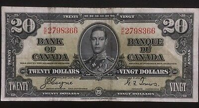 Canada 1937 $20 Bill Bank Of Canada Coyne-Towers Vf-20 Banknote Great Condition!