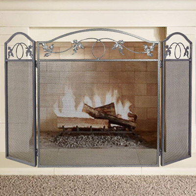 Fireplace Screen Outdoor Metal Leaf Fence 3 Panel Pewter Wrought Iron