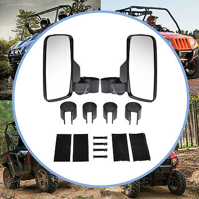 "Side Rear View Mirror Set UTV Offroad 1.6"" - 2""  Break-Away Large Wide View Race"