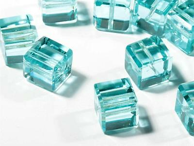 Lot (17) 11mm Czech rare antique faceted aqua green cube glass beads Swarovski