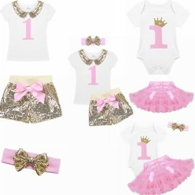 3PCS Baby Girl 1st Crown Romper Bodysuit Headband Birthday Tutu Skirt Outfit Set