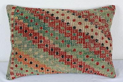 Antique Turkish Kilim Lumbar Pillow 20x14, Kilim Rug Lumbar Cushion Cover