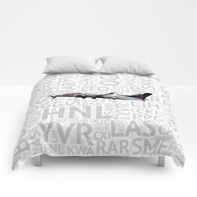 Aloha Airlines 737 with Airport Codes -  Queen Size Comforter