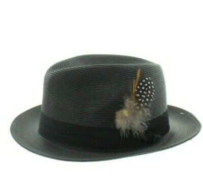 fc367041be7a3 Men s black poly braid hat Pinch front round Wide Brim satin Band Feather  Milani