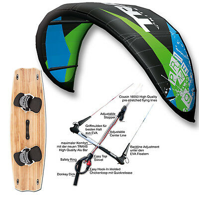 Kite Set Trans Prime ~ Kite 9 Qm + Bar + Bag + Crossover Kiteboard 141 Cm