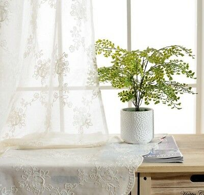 Ivory Sheer Tulle for Sunroom Pink Rose Embroidered Curtain Blue Drape 1 Piece