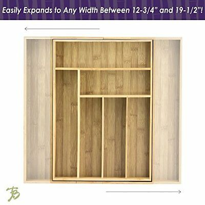 Totally Bamboo Expandable Drawer Organizer, 8-Compartments, For Cutlery, Utensil