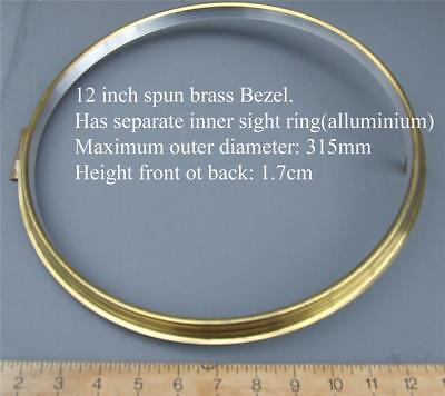 12 1/4 inch clock bezel, brass unused for american &  fusee dial clocks