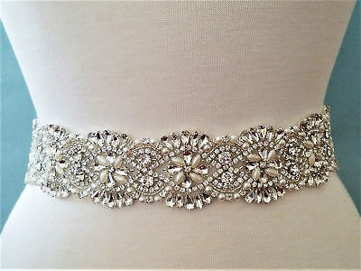 "Wedding Sash Belt - Clear Rhinestone Pearl Wedding Sash Belt = 17 3/4"" LONG"