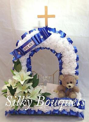Gates Of Heaven Artificial Silk Funeral Flower Tribute Teddy Wreath Memorial