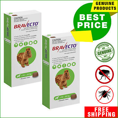 Bravecto for Dogs flea and tick treatment 10 to 20 Kg Green 2 Chews
