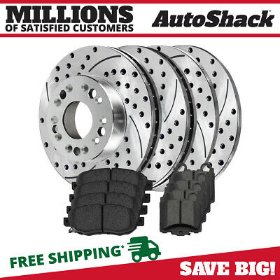 [Front and Rear Set] 4 Performance Rotors and 8 Premium Ceramic Pads fits Lexus