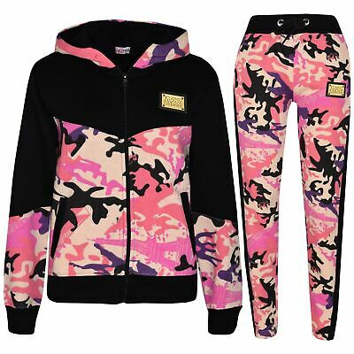 Kids Girls Designer A2Z Camouflage Contrast Tracksuit Hooded Jogging Suit 5-13Yr